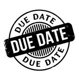 Due Date rubber stamp. Grunge design with dust scratches. Effects can be easily removed for a clean, crisp look. Color is easily changed stock photography