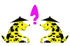 Due degli stessi animali fantastici davanti ad a vicenda e di un punto interrogativo fra loro royalty illustrazione gratis