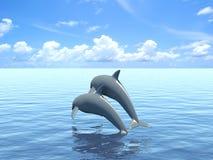 Due delfini che galleggiano all'oceano. Fotografie Stock Libere da Diritti