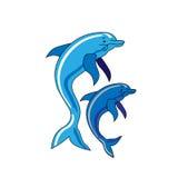 Due delfini di salto isolati Immagini Stock Libere da Diritti