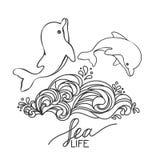 Due delfini disegnati a mano del bambino, saltanti sull'onda Rebecca 36 Illustrazione Vettoriale
