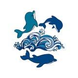 Due delfini disegnati a mano del bambino stanno saltando sull'onda Illustrazione di Stock
