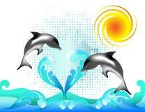 Due delfini nelle onde del mare Fotografia Stock Libera da Diritti