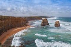 Due delle dodici rocce famose degli apostoli sulla grande strada dell'oceano, Au Fotografie Stock Libere da Diritti