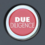 Due Diligence Car Start Button Research Company Merger Acquisiti. Due Diligence words on a red car start or ignition button to illustrate the importance of Stock Image