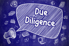 Due Diligence - Hand Drawn Illustration on Blue Chalkboard. Royalty Free Stock Image