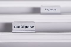 Due diligence and regulations folders Stock Photography