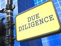Due Diligence. Signpost on Blue Background. Royalty Free Stock Images