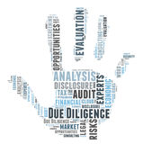 Due Diligense. Due Diligence word cloud shaped as a hand Royalty Free Stock Photography
