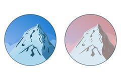 Due distintivi con il vettore della montagna abbelliscono in blu e nei colori Fotografia Stock