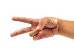Due dito e mano contano il numero due su fondo bianco isolato Fotografia Stock Libera da Diritti