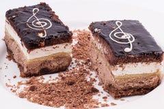Due dolci di cioccolato su un piatto bianco isolato su backgroun bianco Fotografia Stock Libera da Diritti
