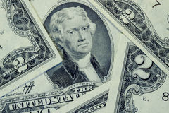Due dollari Bill Immagini Stock