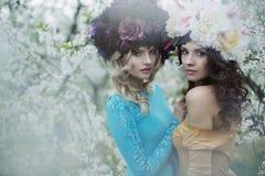 Due donne adorabili che indossano i sopporti per anima enormi Immagini Stock Libere da Diritti