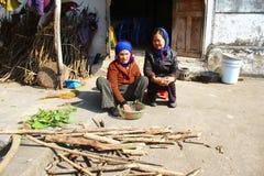 Due donne anziane cantano le canzoni folk Fotografia Stock
