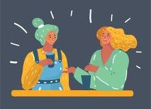 Due donne che chiacchierano, sorridendo royalty illustrazione gratis
