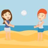 Due donne che giocano beach volley Fotografie Stock Libere da Diritti