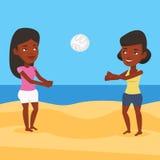 Due donne che giocano beach volley Immagine Stock