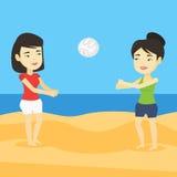 Due donne che giocano beach volley Fotografia Stock Libera da Diritti