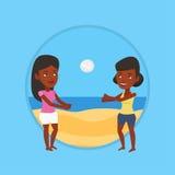 Due donne che giocano beach volley Immagine Stock Libera da Diritti