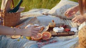 Due donne che hanno un picnic - frutti e dessert sulla coperta archivi video