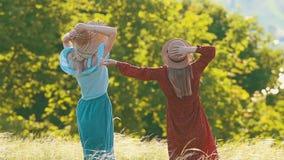 Due donne che ondeggiano le loro mani nel campo di estate video d archivio