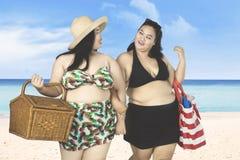 Due donne di peso eccessivo che camminano sulla spiaggia Fotografia Stock Libera da Diritti