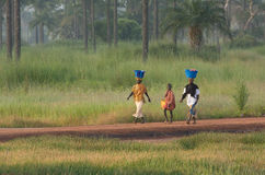 Due donne e un ragazzo in Gambia Fotografia Stock