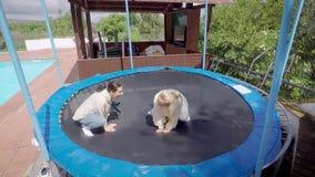 Due donne felici divertenti stanno saltando sul trampolino scherzosamente, stanno sedendo come le rane, stanno sorridendo e riden stock footage