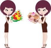 Due donne spesse e sottili. illustrazione di stock