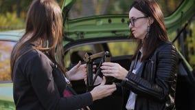 Due donne vicino all'automobile verde sta provando a trattare con il Jack per cambiare il pneumatico video d archivio