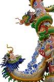 Due draghi che combattono su un palo (isolamento) Fotografia Stock Libera da Diritti