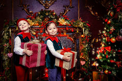 Due elfi dei bambini Immagini Stock