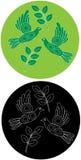 Due emblemi con i piccioni Fotografia Stock