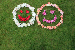 Due emoticon sorridente dei fronti dai petali di sono aumentato su fondo di Fotografia Stock