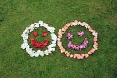 Due emoticon sorridente dei fronti dai petali di sono aumentato su fondo di Immagini Stock