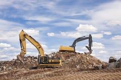 Due escavatori a cucchiaia rovescia Immagini Stock Libere da Diritti