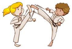 Due esperti in arti marziali illustrazione vettoriale