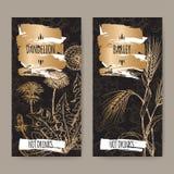Due etichette con il taraxacum officinale del dente di leone aka e hordeum vulgare dell'orzo aka sul nero Raccolta calda delle be Immagine Stock Libera da Diritti