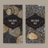 Due etichette per la salsa bianca e nera del tartufo su pizzo illustrazione vettoriale