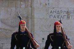 Due evzones nel ¼ Œgreece dello squareï di sintagma Immagine Stock Libera da Diritti