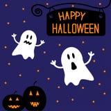 Due fantasmi e zucche divertenti di Halloween. Ni stellato Immagini Stock