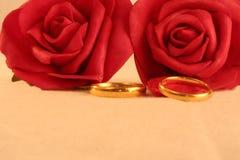 Due fasce di cerimonia nuziale dell'oro e rose rosse Fotografia Stock Libera da Diritti