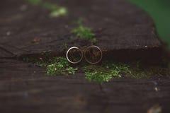 Due fedi nuziali nel segno di infinito Concetto di amore Reparto molto piccolo Fotografie Stock Libere da Diritti