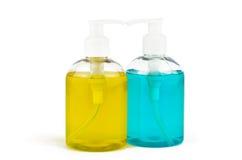 Due fiale di sapone liquido fotografia stock libera da diritti