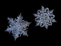 Due fiocchi di neve isolati su fondo nero Fotografia Stock Libera da Diritti