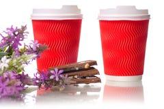 Due fiori del cioccolato delle tazze di caffè del cartone Immagini Stock Libere da Diritti
