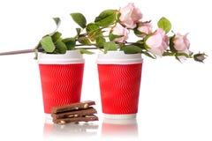 Due fiori del cioccolato delle tazze di caffè del cartone Immagine Stock Libera da Diritti