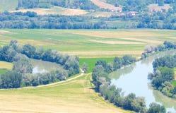 Due fiumi che vengono vicino senza mai toccare Fotografia Stock