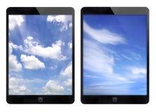 Due fondo nero del cielo blu e della compressa Fotografie Stock Libere da Diritti